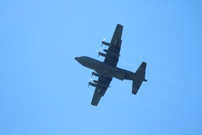 A C-130 Hercules search and rescue plane could be seen landing at the Kincardine airport on Wednesday, May 12. Shari Storms photo
