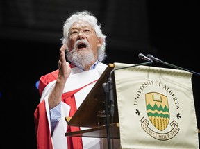 David Suzuki speaks to the graduating class after receiving an honorary degree from the University of Alberta on Thursday June 7, 2018 during the university spring convocation ceremonies at the Northern Alberta Jubilee Auditorium in Edmonton. Suzuki was recognized for his lifetime achievement in promoting science literacy and education, and received an honorary doctor of science degree. (PHOTO BY LARRY WONG/POSTMEDIA)