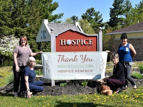 The 2021 Virtual Hike for Hospice raised $53,000 for Hospice Renfrew. In the photo from left, hospice executive director Marjorie Joly, volunteer Pat Debenham, data entry clerk Betty Coulas and volunteer coordinator Debroah Coelho. Submitted photo
