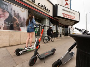 The City of Edmonton issued 17 tickets over the Victoria Day long weekend for illegal e-scooter use on sidewalks. These are the first tickets issued since e-scooters were introduced on Edmonton streets in 2019.