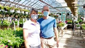 Vanvugt Greenhouses owners Angela and Pete Van Zyverden, who said there's pent-up demand for plants, opened for the season Saturday, May 1, 2021 in Georgian Bluffs, Ont. (Scott Dunn/The Sun Times/Postmedia Network)
