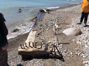 The centreboard box of the 1871 schooner Homer H. Hine was found washed up on Point Clark beach in Huron-Kinloss this spring. SUPPLIED