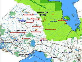 Ring of Fire map showing the mining area in relation to the rest of Northern Ontario.