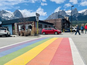 Check out the new Pride crosswalk at the rear entrance of the Canmore Civic Centre. On May 17, the International Day Against Homophobia, Transphobia and Biphobia, the Town of Canmore will fly the pride flag as a symbol of solidarity for those who have fought and continue to fight for LGBTQ2+ rights. Photo Marie Conboy/ Postmedia.