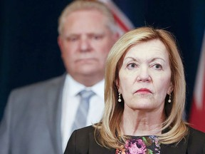 """Christine Elliott, Ontario Deputy Premier and Minister of Health said Monday that experts are advising the government to """"stay the course"""" with restrictions set to lift May 20, even as case counts and hospitalizations have begun to decline. POSTMEDIA"""