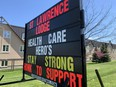 A sign at St. Lawrence Lodge encourages support for front-line wokrers on Thursday afternoon. (RONALD ZAJAC/The Recorder and Times)
