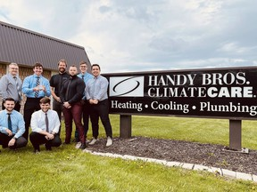 """Handy Bros. ClimateCare received the medium business of the year nod during the Chatham-Kent Chamber of Commerce's 133rd annual Business Excellence Awards. The owners dedicated the award to all the staff """"who work tirelessly every day here at Handy Bros."""" (Handout)"""