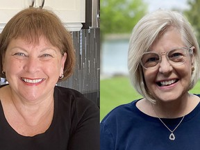 Pat Easton, left, and Laurie MacEacheron, right, are two of the retired Chatham-Kent Health Alliance nurses who have returned to work at the local vaccination clinic.