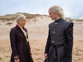Emma D'Arcy as Princess Rhaenyra Targaryen and Matt Smith as Prince Daemon Targaryen in a scene from House of the Dragon.