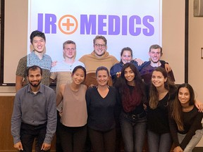 Some of the Queen's University medical students taking part in the online Jr. Medics program, in an undated file photo.