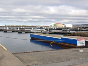 The boat launch at the North Bay Marina is currently chained off but is slated to open Saturday. Memorial Drive, however, is closed for the weekend from Regina Street to the marina. PJ Wilson/The Nugget