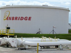 A tank farm at the Enbridge pipelines terminal in Sarnia s shown here. Enbridge Line 5, a pipeline Michigan's governor says she wants to shut down, crosses the state carrying oil and natural gas liquids between Superior, Wisconsin and Sarnia.
