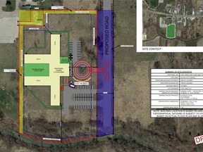 A draft plan for the Sumac Lodge build planned at 1597 London Line. Sarnia city council Monday approved selling the land to Sumac parent company Revera Inc. for $250,000. (City of Sarnia image)