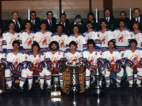 The 1981 Allan Cup-winning Petrolia Squires. Back row: Al Gibbons, Bill Stobbs, Sippie Scholten, Jim Duffy, Keith Cameron, coach Steve Degurse, Clare Ross, Dave Osborne, Dr. Harold Shabshove, Mait Edgar, and manager Ira Downer. Middle row: trainer Ron Goodachre, Bill Abercrombie, Len Fontaine, Steve Stoyanovich, Grant Musselman, Bob Gardiner, Bill Fairburn, Bill Brown, Brian Edgar, Gary Wilson, Jerry Sancartier, John Held, Ray Tilley, Al Houston and trainer Rob Metcalfe. Front row: Dave Tataryn, Doug Zonneville, Ron Wilson, captain Barry Edgar, Larry Lucas, Dale Wilson, Dave Wilson and Bruce Aberhart. Photo courtesy Sarnia Sting