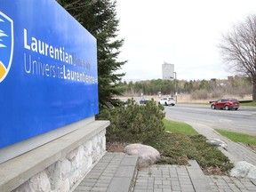 Protesters took part in a car rally to fight Laurentian University program closures in Sudbury, Ont. on Friday April 30, 2021. John Lappa/Sudbury Star/Postmedia Network