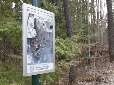 A sign board which displays the map of trail system at Hersey Lake.  RICHA BHOSALE/The Daily Press