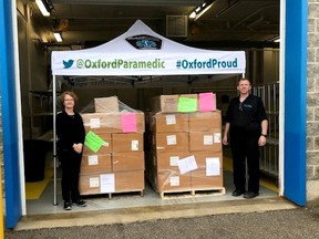 The first shipment of personal protective equipment from the province arrived in Oxford County on May 3 where local paramedics will handle the logistics of supply distribution. Shown are Barb St. Clair and Jay Pember. Supplied