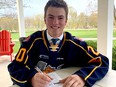 Beau Jelsma turned 17 in late April and a few days later at his home in Delmer signed a contract with the OHL Barrie Colts. (Submitted)