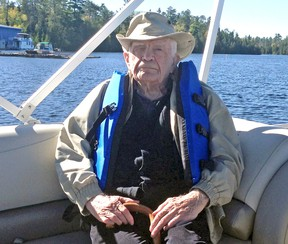 John R. Hunt enjoys an outing on Lake Temagami. Hunt was a reporter, columnist and editorial writer for The Nugget for 67 years. Hunt, 96, died Thursday. Submitted Photo
