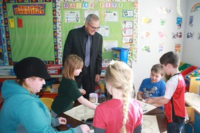 Superintendent Kevin Andrea is stepping down in July after 15 years with Northern Gateway Public Schools. At Pat Hardy Elementary School, Andrea visited in 2012 to meet the early learners.