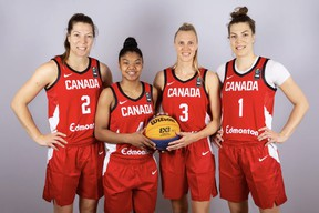 Samantha Cooper (3) with Katherine and Michelle Frances Plouffe, and Ceejay Nofuente, her teammates for the FIBA 3x3 Women's Series in Voiron, France.