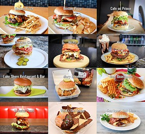 Some of the amazing burgers available for Portage Burger Days. (supplied photo)
