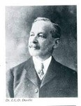 •Photograph from Earth Sciences Museum – Dr. E.D.G. Deville, Chief Inspector of Surveys, later Surveyor General, and Director General of Surveys. He was recognized, among other accomplishments, for his introduction and enforcement of a more scientific method of survey and development of phototopography (photogrammetry) used to photograph difficult terrain.