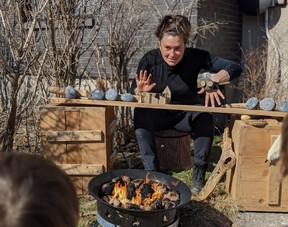 Théâtre des Petites Âmes' puppeteer Isabelle Payant uses decorated stones as hand puppets to tell interactive stories in her new show, Fire ... Stones ... and Stories. Submitted photo