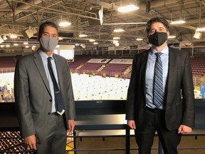 Dr Loh, Region of Peel Medical Officer of Health and Dr Arra, Medical Officer of Health, Grey Bruce Health Unit, on June12 at the Hockey Hub in the Region of Peel. SUBMITTED