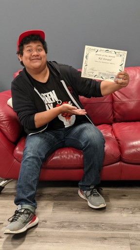 RJ Israel was named the Youth of the Month for May-June 2021 at the Chantal Bérubé Youth Centre last week. (Supplied by Adrienne King)
