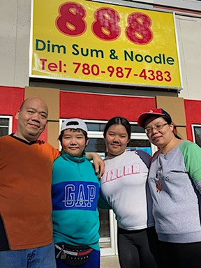 The Wong family outside their new restaurant, 888 Dim Sum and Noodle. (Supplied by Deb Mohr)