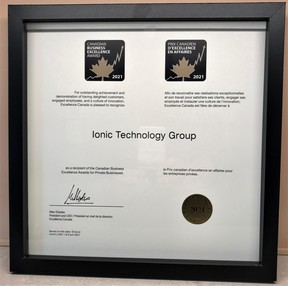 The Ionic Technology Group received national recognition June 9 and was named one of the recipients of the Canadian Business Excellence Awards for Private Businesses.