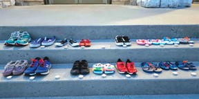 Photo supplied Shoes have been placed on the steps of the Pro-Cathedral of the Assumption in North Bay.