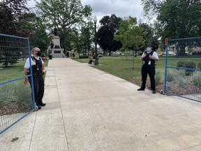Around the clock security has been put in place at Victoria Park as work on a memorial to Indigenous children who lost their lives in Indian residential schools is put in place.