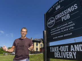 Brad Jones of Jones Entertainment Group announced plans for the Road to Rock the Park Dinner Series more than a month ago. But the Middlesex-London Health Unit said the planned concerts for a crowd of 100 people on a patio at Crossings Pub and Eatery aren't allowed under current provincial COVID-19 pandemic restrictions. (Mike Hensen/The London Free Press)