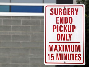 A sign marks a parking spot for surgery and endoscopy patients at Belleville General Hospital. Endoscopy services have resumed in Belleville and are slated to return in August to Prince Edward County Memorial Hospital.