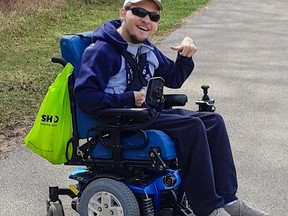A power wheelchair provides some independence for 24-year-old Nathan Manners of Brantford. A GoFundMe campaign has been established to replace his parents' wheelchair-accessible van that was destroyed in a collision in May when another vehicle ran a red light.