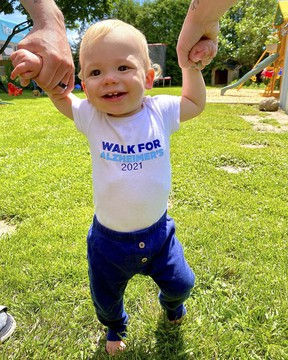 Grayson Parry takes baby steps in the IG Wealth Management Walk for Alzheimer's, organized by the Alzheimer Society of Chatham-Kent.
