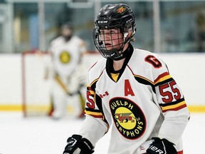 Defenceman Brock Reinhart of the Guelph U18 Gryphons is the Sarnia Sting's first-round pick in the 2021 Ontario Hockey League under-18 draft. (Contributed Photo)