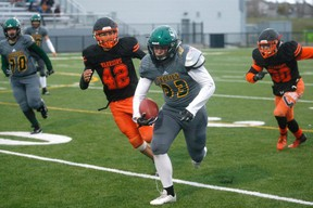 Former St Joe's Celtics running back Jayden Sak in Mighty Peace Football League action against the Grande Prairie Composite Warriors at CKC Field in 2019. On June 1, Sak signed on with the Edmonton Wildcats of the Canadian Junior Football League.
