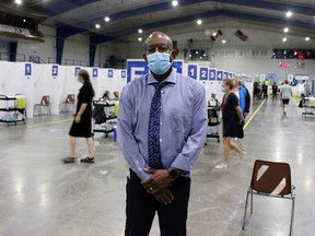 Andrew Taylor, general manager of Lambton County's public health services division, stands inside the new high-volume COVID-19 vaccine clinic at Clearwater Arena as vaccine recipients start to filter in on Friday June 25, 2021, in Sarnia, Ont. Terry Bridge/Sarnia Observer/Postmedia Network