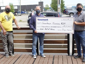 Newmont Porcupine is providing $29,945 in order for downtown restaurants and eateries to set up outdoor pop-up patios. Chad Dubbanow, Downtown Timmins Business Improvement Association board member, from left, BIA president Jamie Roach and Newmont Porcupine's sustainability and external relations manager Bryan Neeley gathered Tuesday to announce the funding  RICHA BHOSALE/The Daily Press