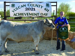 Anna Lundgren of the Champion 4-H Multi-Club was the 2021 grand champion for the Vulcan 4-H District. Her 1,588-pound Charolais cross steer sold for $3 a pound and was bought by Midstream Equipment, from Wheatland County.