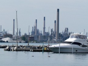 Industries in Sarnia are shown on the Canadian shore of the St. Clair River at Sarnia. File photo/Postmedia Network