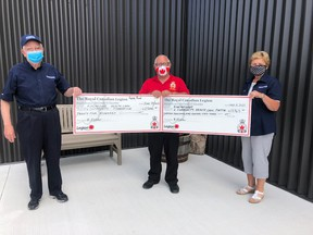 On June 29, the Legion made two donations to the Kincardine Community Health Care Foundation. The amounts were $13,963 from Catch the Ace and $2,500 from the Poppy Fund. The donation will be used for the CT Scanner and Cardiac Ultrasound. L-R: Jack Nanekivell, Vice President, Bob Fletcher, Legion President, and Dianne MacArthur, Director. SUBMITTED