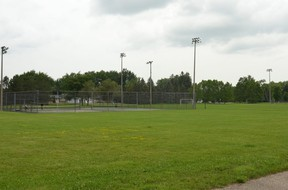 It doesn't look like much now, but this empty field between the tennis courts and the parking lot at the Stratford Education and Recreation Centre could soon be the location of a new, NBA-sized basketball court if Stratford council approves a proposal by the Stratford Basketball Association. (Galen Simmons/The Beacon Herald)