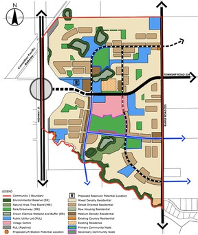 The Area Structure Plan for Bremner's first neighbourhood. Between community #1 and #4, the plans, which were approved by Strathcona County council in a 6-2 vote on Tuesday, July 20, are expected to support 36,000 future residents. Graphic Supplied
