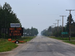 Highway 106, also known as the Hanson Lake Road, was closed for several days due to smoke from wildfires. It has since been re-opened. Photo Susan McNeil.