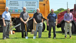 MPP Jim McDonell, South Dundas Mayor Steven Byvelds, United Counties of SDG Warden Allan Armstrong, MP Eric Duncan and United Counties of SDG's director of transportation and planning services Ben de Haan during the official sod turning event for the construction of the Morrisburg roundabout on Thursday July 22, 2021 in Morrisburg, Ont. Francis Racine/Cornwall Standard-Freeholder/Postmedia Network