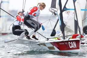 Canadians Ali ten Hove of Kingston and Mariah Millen compete in the women's skiff 49er class on Day 7 at Enoshima Yacht Harbour on Friday in Fujisawa, Kanagawa, Japan.